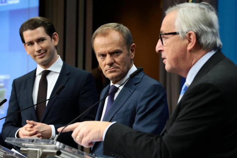 President of the European Council Donald Tusk, Jean-Claude Juncker and Sebastian Kurz, Chancellor of Austria (Getty Images,)