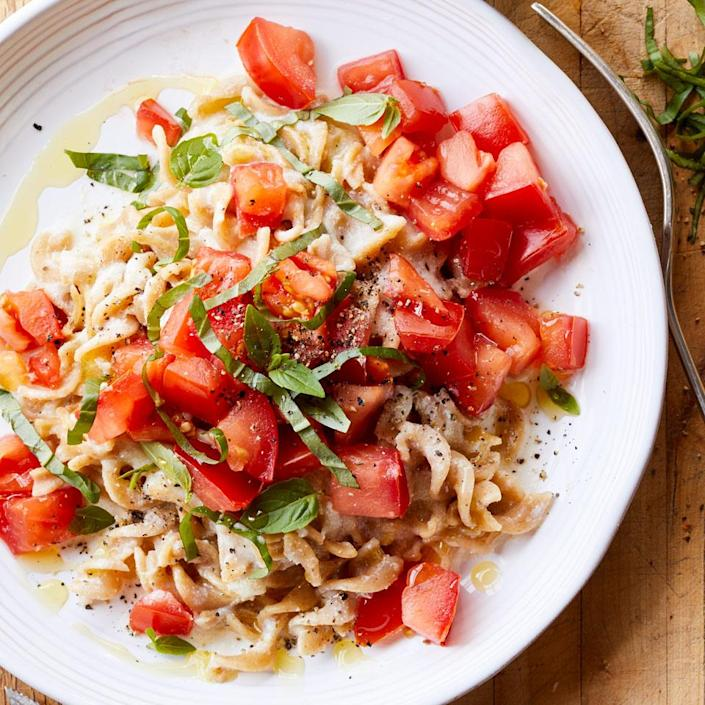 <p>In this healthy vegetarian pasta recipe, using the tastiest possible ingredients is key. That's why we opt for the richer flavor of whole-milk ricotta over part-skim. Pair with a big green salad and a bottle of chilled rosé for a summer meal on the deck.</p>