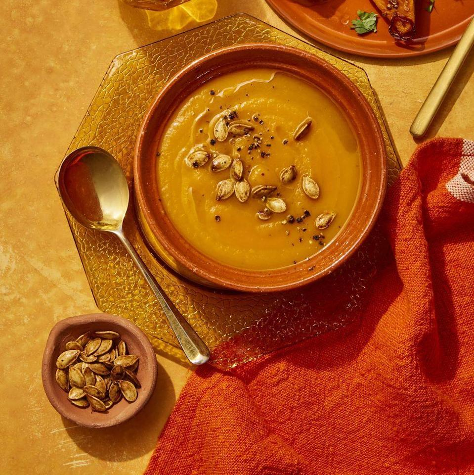 """<p>Pumpkins aren't strictly reserved for the fall. Have this cozy soup whenever you're looking for a healthy, veggie-packed lunch. Pumpkins and carrots have high levels of beta-carotene, making them some of the best foods for your immune system and vision.<br></p><p><em><a href=""""https://www.womansday.com/food-recipes/food-drinks/a25782889/pumpkin-carrot-soup-recipe/"""" rel=""""nofollow noopener"""" target=""""_blank"""" data-ylk=""""slk:Get the Pumpkin-Carrot Soup recipe."""" class=""""link rapid-noclick-resp"""">Get the Pumpkin-Carrot Soup recipe.</a></em></p>"""