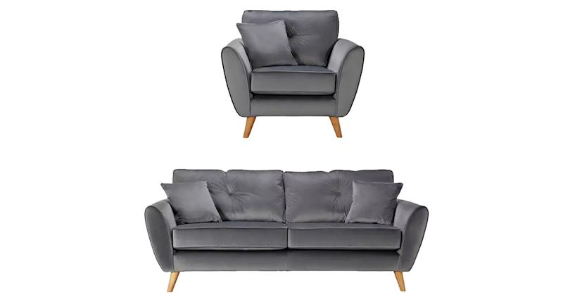 Isla Velvet Chair & 3 Seater Sofa
