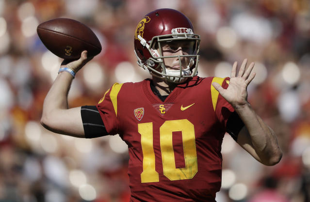 Former USC quarterback Jack Sears has signed with Boise State as a graduate transfer. (AP Photo/Marcio Jose Sanchez)