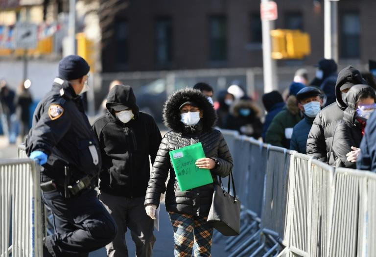 People leave after being tested for he for the coronavirus (COVID-19) at Elmhurst Hospital Center in Jackson Heights in New York (AFP Photo/Angela Weiss)