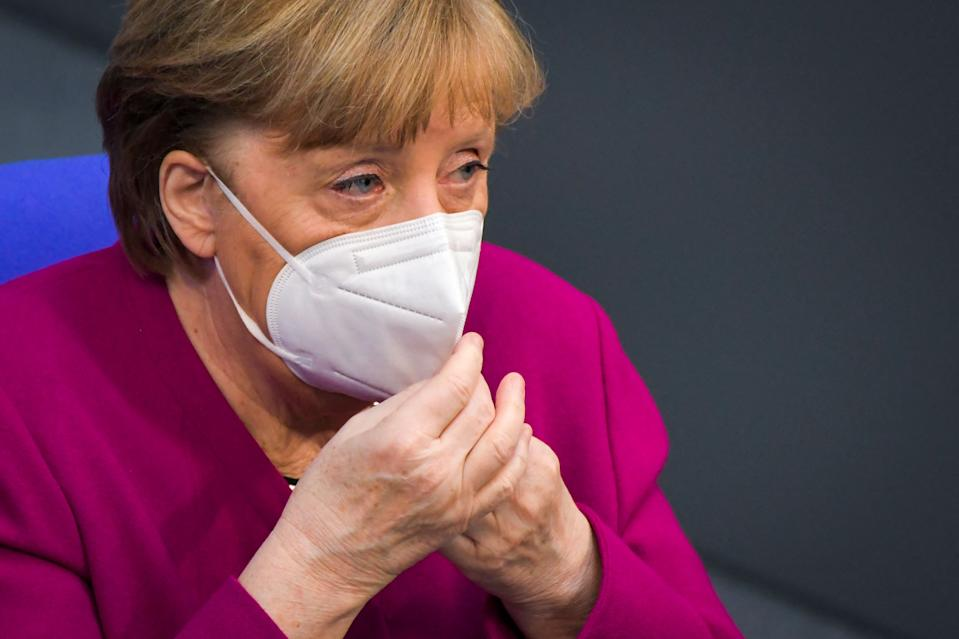 German chancellor Angela Merkel was forced into a sharp U-turn over her decision to announce a five-day lockdown over the Easter period. Photo: Stefanie Loos/AFP via Getty