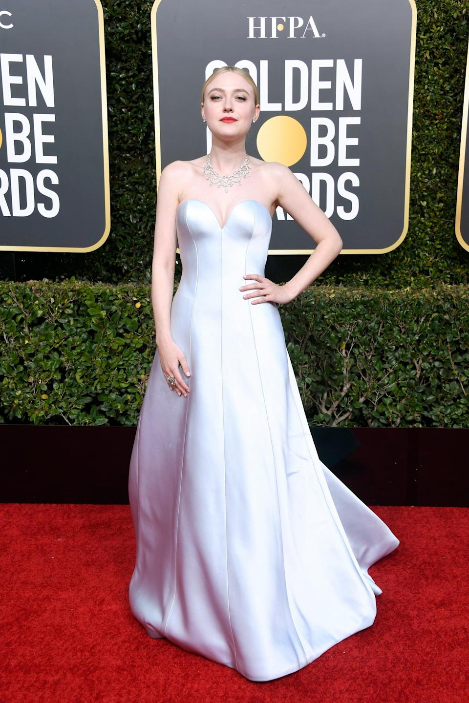 <p>Wearing a custom Armani Privé gown with Jimmy Choo shoes, a Christian Louboutin clutch, and Beladora jewels.</p>