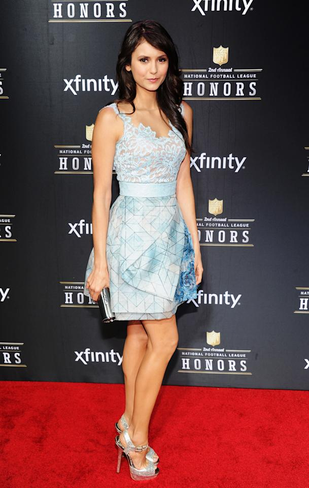 NEW ORLEANS, LA - FEBRUARY 02:  Actress Nina Dobrev attends the 2nd Annual NFL Honors at Mahalia Jackson Theater on February 2, 2013 in New Orleans, Louisiana.  (Photo by Jamie McCarthy/Getty Images)