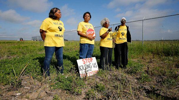 PHOTO:From left, Myrtle Felton, Sharon Lavigne, Gail LeBoeuf and Rita Cooper, members of RISE St. James, conduct a live stream video on property owned by Formosa in St. James Parish, La., March 11, 2020. (Gerald Herbert/AP)