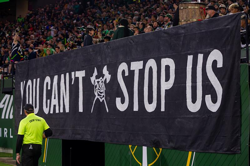 """PORTLAND, OR - SEPTEMBER 07: Portland Timbers group, Timbers Army, display a banner with the words """"You Can't Stop Us"""", during the Portland Timbers game versus the Sporting Kansas City on September 7, 2019, at Providence Park in Portland, OR. (Photo by Diego Diaz/Icon Sportswire via Getty Images)"""