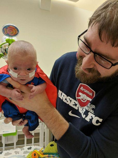 PHOTO: Connor Florio, now 8 months old, survived a life-threatening situation at birth to the point where he could start rehabilitation at Blythedale Children's Hospital in Valhalla, NY. (Jamie and John Florio)