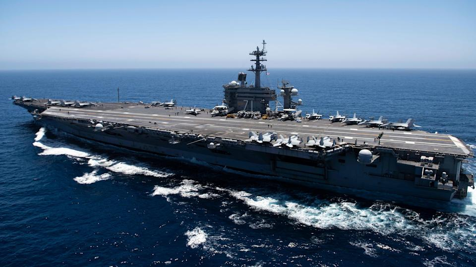 <p>In this handout released by the U.S. Navy, The aircraft carrier USS Theodore Roosevelt (CVN 71) transits the Pacific Ocean. Theodore Roosevelt is conducting routine operations in the Eastern Pacific Ocean</p> (Photo by U.S. Navy via Getty Images)