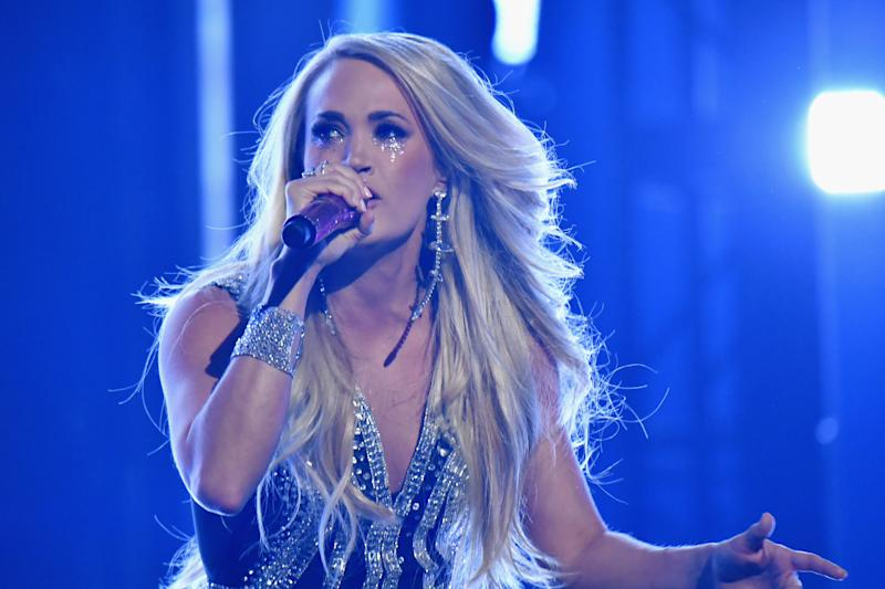Carrie Underwood performs during the 53rd Academy of Country Music Awards on April 15, 2018 in Las Vegas, Nevada.