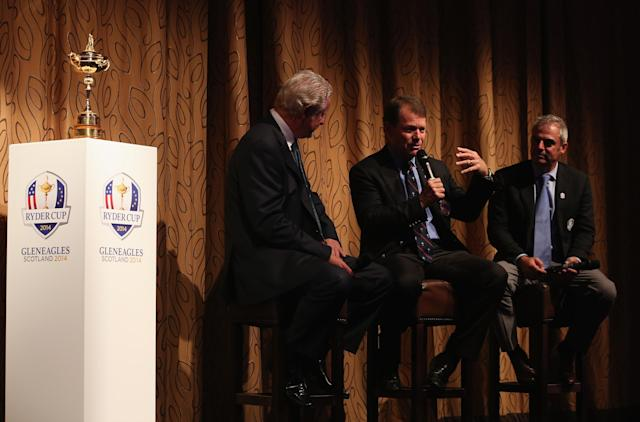 AUCHTERARDER, SCOTLAND - SEPTEMBER 23: A general view of the stage as the Ryder Cup captains Paul McGinley and Tom Watson participate in a Q&A with Dougie Donnelly during a VIP dinner at Gleneagles on September 23, 2013 in Auchterarder, Scotland. (Photo by Andrew Redington/Getty Images)