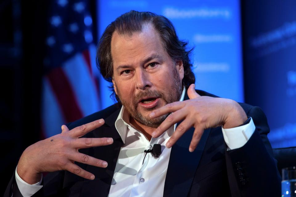 Marc Benioff, founder, chairman and co-CEO of Salesforce, speaks at an Economic Club of Washington luncheon in Washington, DC, on October 18, 2019. (Photo by NICHOLAS KAMM / AFP) (Photo by NICHOLAS KAMM/AFP via Getty Images)