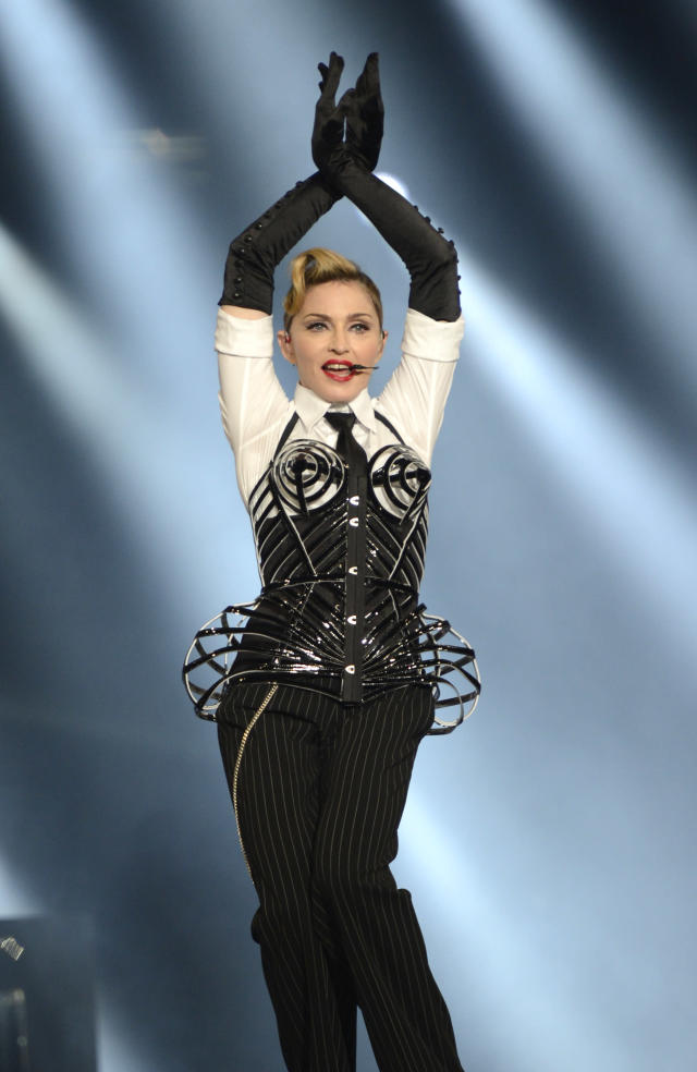 <p>Another day, another iconic cone corset for the singer. <em>[Photo: Getty]</em> </p>