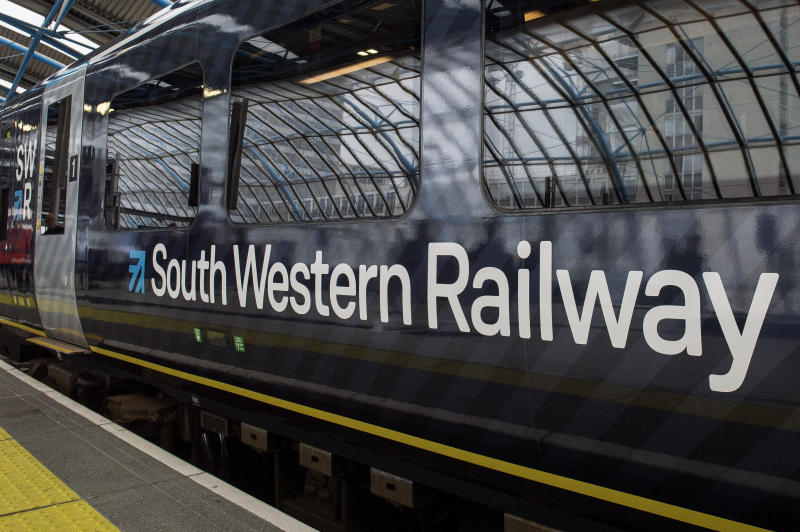 EMBARGOED TO 0001 MONDAY JUNE 17 File photo dated 04/09/17 of a South Western Railway (SWR) train. Rail services on some of the busiest routes in the country will be disrupted this week because of a five-day strike by members of the Rail, Maritime and Transport union on South Western Railway.