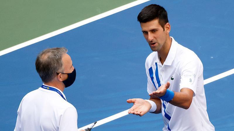 Novak Djokovic is seen here pleading with an official at the US Open.