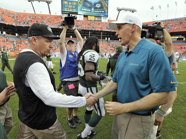 New York Jets head coach Rex Ryan, left, shakes hands with Miami Dolphins head coach Joe Philbin after the Jets defeated the Dolphins 20-7 in an NFL football game Sunday, Dec. 29, 2013, in Miami Gardens, Fla. (AP Photo/Chris O'Meara)