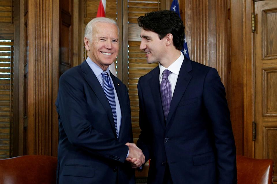 Joe Biden with Justin Trudeau in 2016 during a meeting in Trudeau's office on Parliament Hill in Ottawa, Ontario, Canada (REUTERS)