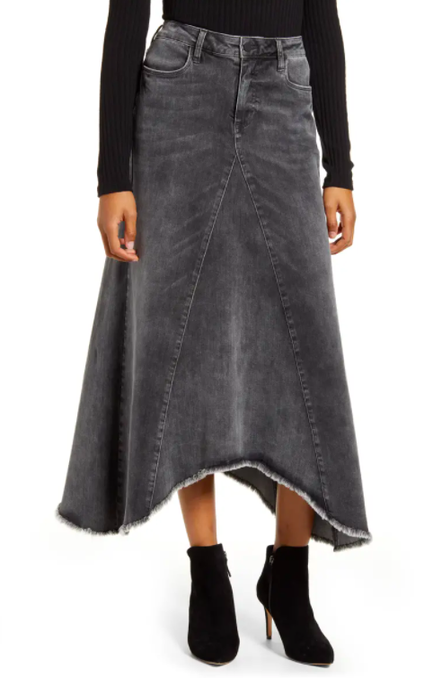WASH LAB long denim skirt. Image via nordstrom.com.