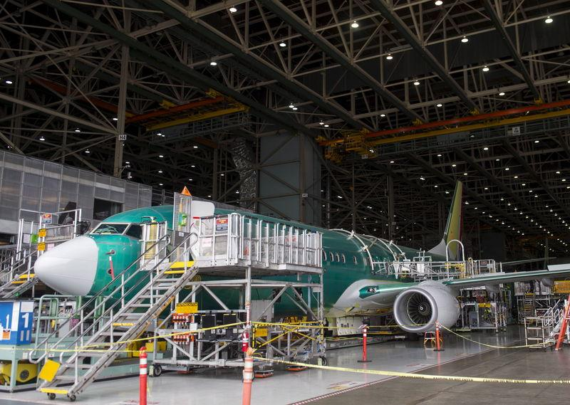 A Boeing 737 aircraft is seen during the manufacturing process at Boeing's 737 airplane factory in Renton, Washington
