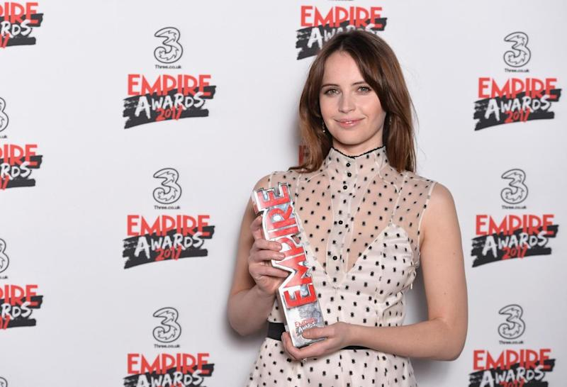 Best Actress: Felicity Blunt with her award for Rogue One (Getty Images)