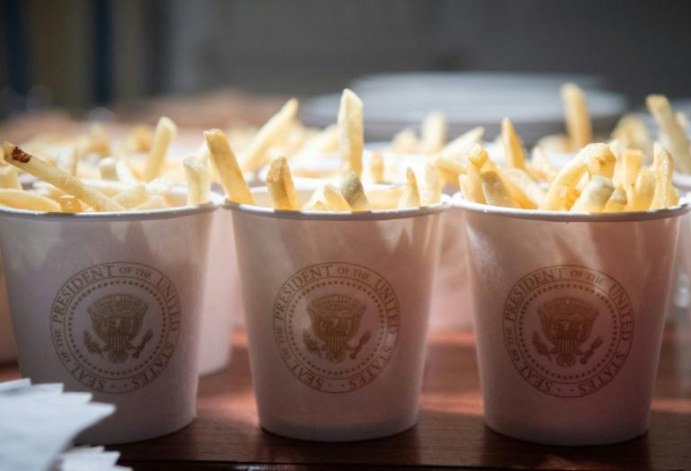 French fries are placed inside cups bearing the presidential seal at the White House