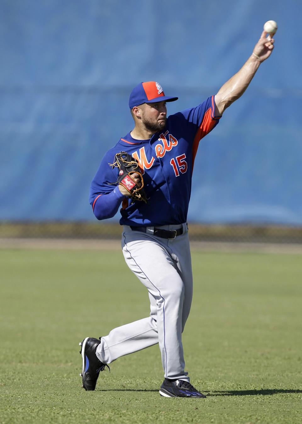 <p>Tim Tebow throws the ball during practice before his first instructional league baseball game for the New York Mets against the St. Louis Cardinals instructional club Wednesday, Sept. 28, 2016, in Port St. Lucie, Fla. (AP Photo/Luis M. Alvarez) </p>
