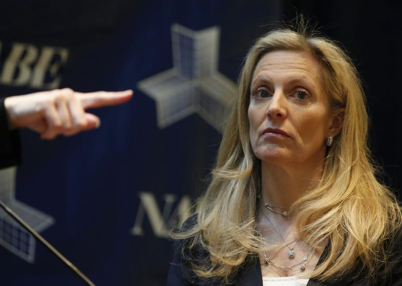 Under Secretary of the U.S. Treasury for International Affairs Lael Brainard listens during conference in Washington