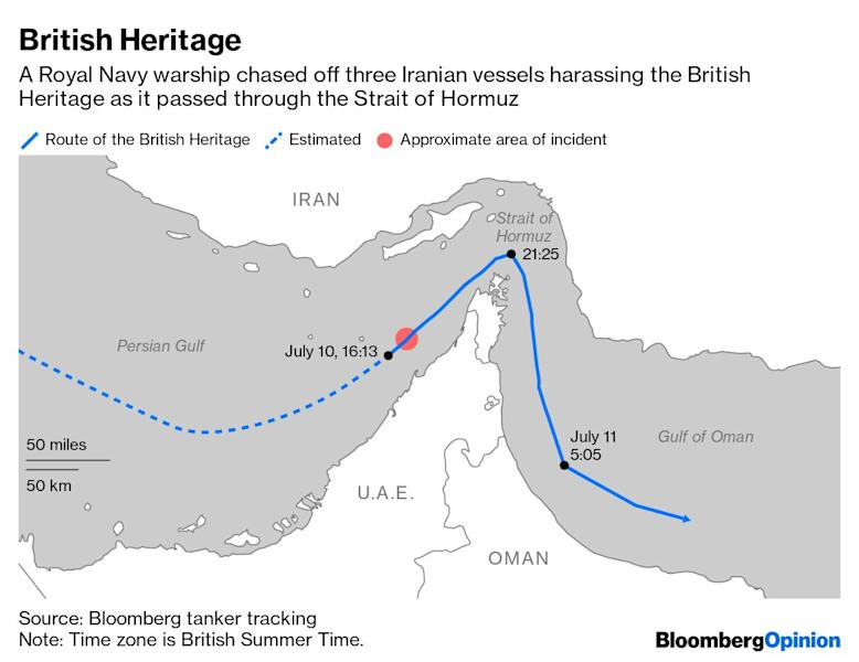 """(Bloomberg Opinion) -- The stakes just rose for U.K. oil tankers passing through the Strait of Hormuz from the Persian Gulf, after a Royal Navy frigate warned off three Iranian patrol boats that attempted to impede the passage of a BP Plc-owned vessel.But the problem remains a uniquely British one, for now.On Wednesday evening the HMS Montrosewas escorting the oil tanker British Heritage through the chokepoint when its chargewas approached by the Iranian ships. These reportedly attempted to forcethe Isle of Man-flagged tanker to change direction into Iranian waters. The Montrose maneuvered between the tanker and the patrol boats and ordered them to move away, which they did, according to a statement from the U.K. Ministry of Defence.The Iranian foreign Minister Mohammad Javad Zarif and Iran'sIslamic Revolutionary Guard Corp both rejected the British version of events.An IRGC statement issued Thursday said that """"during the last 24 hours, there have been no encounters with foreign vessels, including the British ones,"""" according to a report by Iran's semi-official Fars news agency.A U.S. aircraft was overhead and recorded footage of the episode, CNN reported, which could help settle the matter.We will never know if the Iranian vessels would have tried to detain the British Heritage had the frigate not been shadowing it. Civilian ships transiting Hormuz have been detained by Iran before. In April 2015 the Maersk Tigris,a cargo ship flying the flag of the Marshall Islands, was seized by Iran in international waters. The incident related to a decade-old dispute over 10 cargo containers. The following month the U.S. Navybegan accompanying U.S.-flagged ships through the chokepoint, though this stopped after about a week.Its capture was one of three incidents involving merchant ships in and around Hormuz at that time.These coincided with rising tensions between hard-liners and more moderate factions in Iran's political system, and rising tensions over conflicts in the Mideas"""