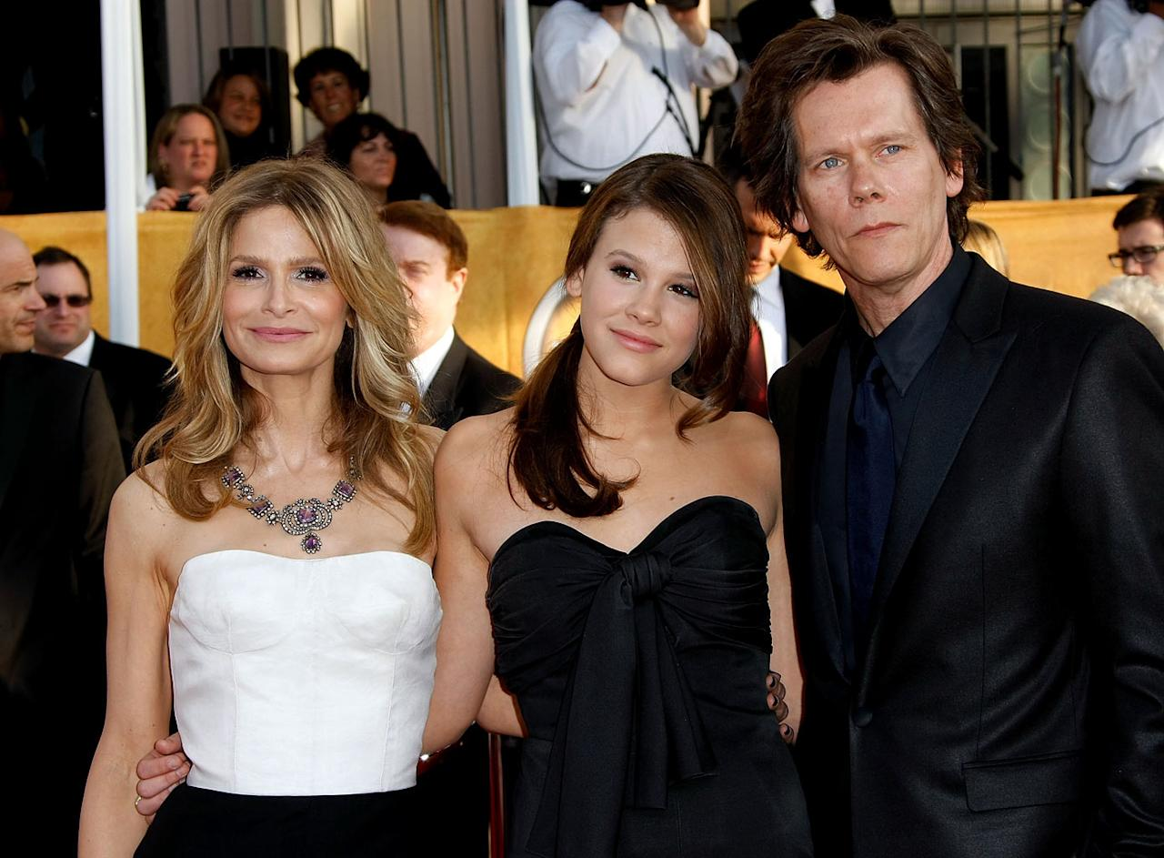 "<a href=""/kyra-sedgwick/contributor/32709"">Kyra Sedgwick</a> and <a href=""/kevin-bacon/contributor/29114"">Kevin Bacon</a> and daughter Sosie Bacon arrives at the <a href=""/the-15th-annual-screen-actors-guild-awards/show/44244"">15th Annual Screen Actors Guild Awards</a> held at the Shrine Auditorium on January 25, 2009 in Los Angeles, California."