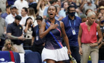 Leylah Fernandez, of Canada, reacts after defeating Elina Svitolina, of Ukraine, during the quarterfinals of the US Open tennis championships, Tuesday, Sept. 7, 2021, in New York. (AP Photo/Elise Amendola)