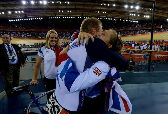 Chris Hoy hugs Laura Kenny (then Trott) after winning gold at the London Olympics in 2012