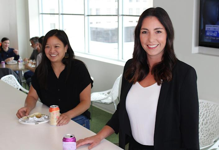 Upon returning to the office, Zilliant executives Samantha Leung, left, and Lindsay Duran, right, wanted to make sure certain perks including Taco Tuesdays, returned as well to the Austin, Texas-based startup.