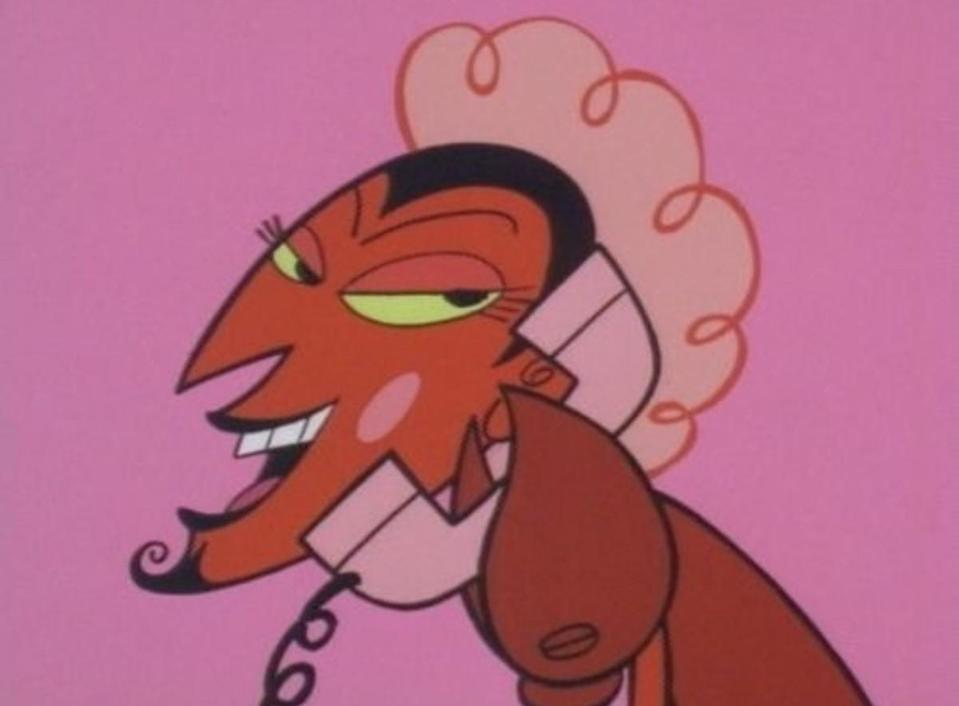 The Powerpuff Girls villain HIM, a devil-like creature with long eyelashes and a goatee, chats on the phone.