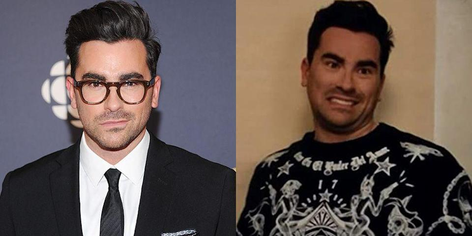 <p><strong>Signature: </strong>Thick square-framed eyewear</p><p><strong>Without Signature: </strong>On Schitt's Creek, playing his character David Rose and presumably wearing contacts. </p>