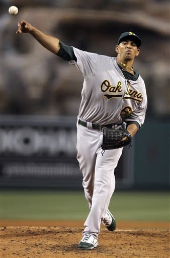 Oakland Athletics starting pitcher Tyson Ross throws to the Los Angeles Angels during the second inning of a baseball game in Anaheim, Calif., Monday, May 14, 2012. (AP Photo/Chris Carlson)