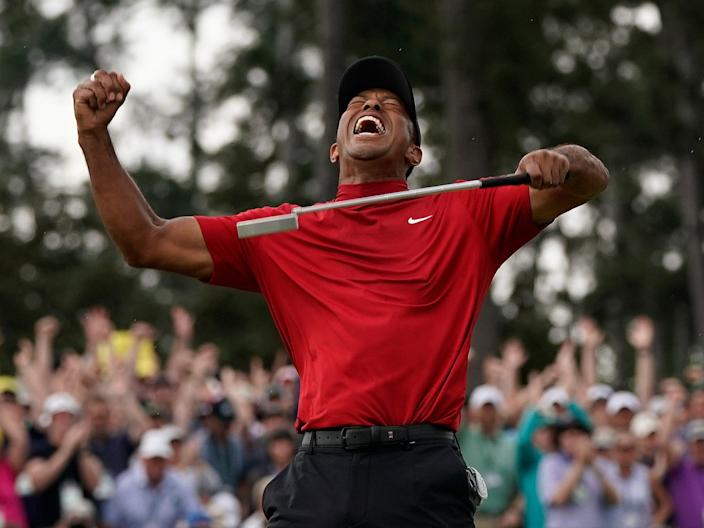 Tiger Woods reacts as he wins the Masters golf tournament April 14, 2019, in Augusta, Ga. (AP Photo/David J. Phillip)