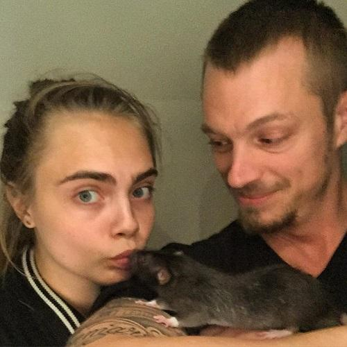 Suicide Squad stars Cara Delevigne and Joel Kinnaman with th rat Jared Leto sent to Margot Robbie (Credit: Instagram)