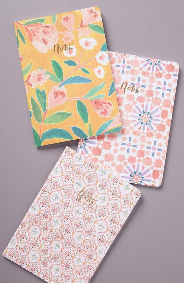 """<p>These <a href=""""https://www.popsugar.com/buy/Anthropologie-Rosie-Set-Three-Journals-496487?p_name=Anthropologie%20Rosie%20Set%20of%20Three%20Journals&retailer=shop.nordstrom.com&pid=496487&price=18&evar1=savvy%3Aus&evar9=26286917&evar98=https%3A%2F%2Fwww.popsugar.com%2Fphoto-gallery%2F26286917%2Fimage%2F46700850%2FAnthropologie-Rosie-Set-Three-Journals&list1=shopping%2Cgifts%2Choliday%2Cgift%20guide%2Cgifts%20for%20women%2Cgifts%20under%20%24100%2Cgifts%20under%20%2450%2Cgifts%20under%20%2475&prop13=api&pdata=1"""" rel=""""nofollow"""" data-shoppable-link=""""1"""" target=""""_blank"""" class=""""ga-track"""" data-ga-category=""""Related"""" data-ga-label=""""https://shop.nordstrom.com/s/anthropologie-rosie-set-of-three-journals/5349098?origin=category-personalizedsort&amp;breadcrumb=Home%2FHome%20%26%20Gifts%2FGifts%2FGifts%20for%20Her&amp;color=assorted"""" data-ga-action=""""In-Line Links"""">Anthropologie Rosie Set of Three Journals</a> ($18) are so pretty.</p>"""