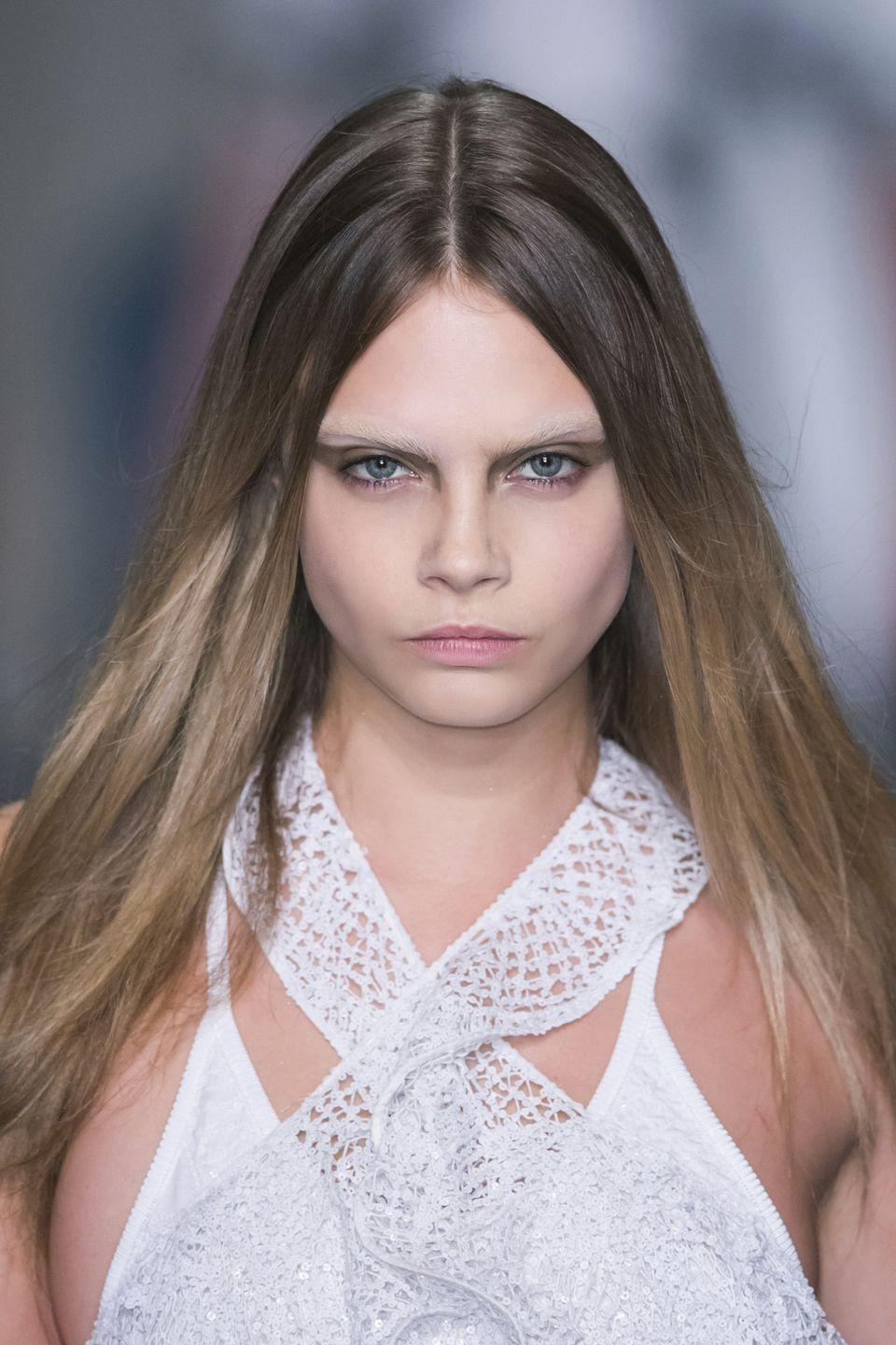 <p>There are no eyebrows in the industry that have become quite as much of a trademark signature as Cara Delevingne's. Dark, bushy and glorious, the model's eyebrows were across every catwalk mid 2010s and kickstarted the natural brow trend. As it turns out, she looks great with a super lightened, icy blonde pair of brows too.</p>