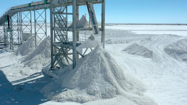 Piles of salt, a byproduct of lithium extraction, at the new state-owned lithium extraction complex at the Uyuni Salt Flat, Bolivia