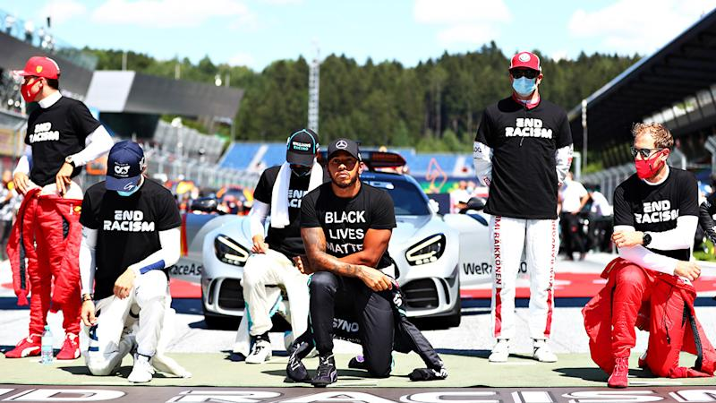 F1 drivers, pictured here during a Black Lives Matter protest at the Austrian Grand Prix.