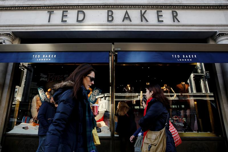 Shoppers walk past a Ted Baker store on Regents Street in London, Britain December 17, 2018. Photo: REUTERS/Simon Dawson