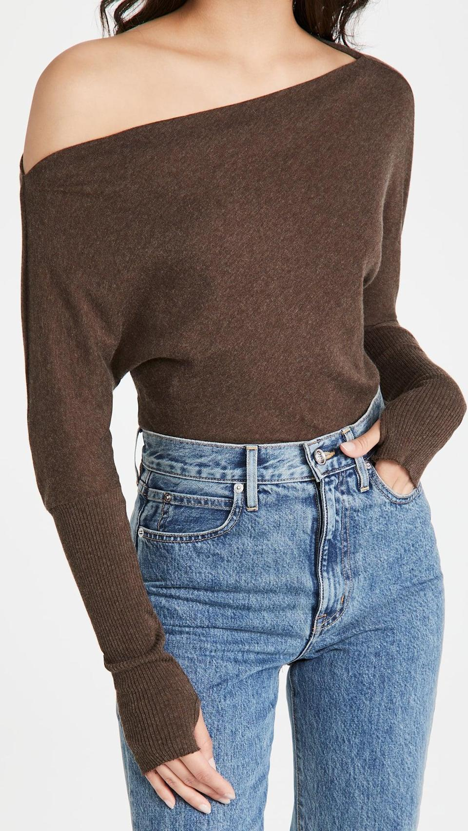 <p>Show off your shoulders in this <span>Enza Costa Cashmere Cuffed Off Shoulder Sweater</span> ($198).</p>