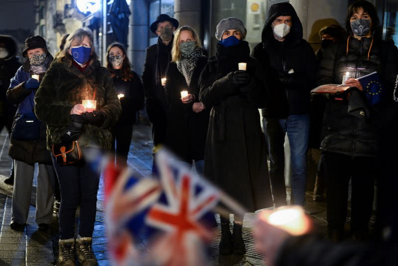 Candlelit vigil outside the British embassy in Brussels