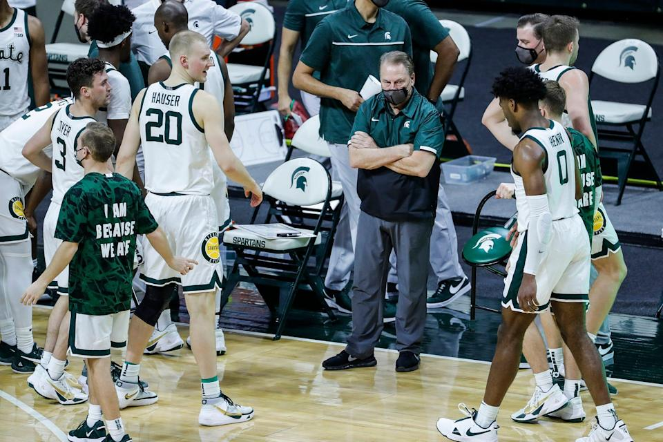 Michigan State head coach Tom Izzo calls a timeout during the first half against Rutgers at the Breslin Center in East Lansing, Mich., Tuesday Jan. 5, 2021.