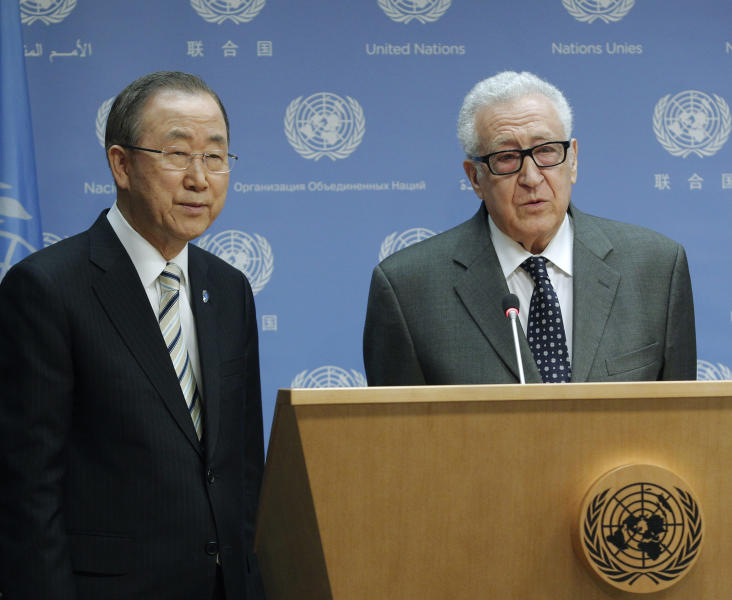 In this photo provided by the United Nations, United Nations Secretary General Ban Ki-moon, left, joins Lakhdar Brahimi as Brahimi announces his resignation as Joint Special Representative of the United Nations and the League of Arab States for Syria, Tuesday, May 13, 2014 at United Nations headquarters. After nearly two years in the position, Brahimi's resignation becomes effective on May 31. (AP Photo/The United Nations, JC McIlwaine)
