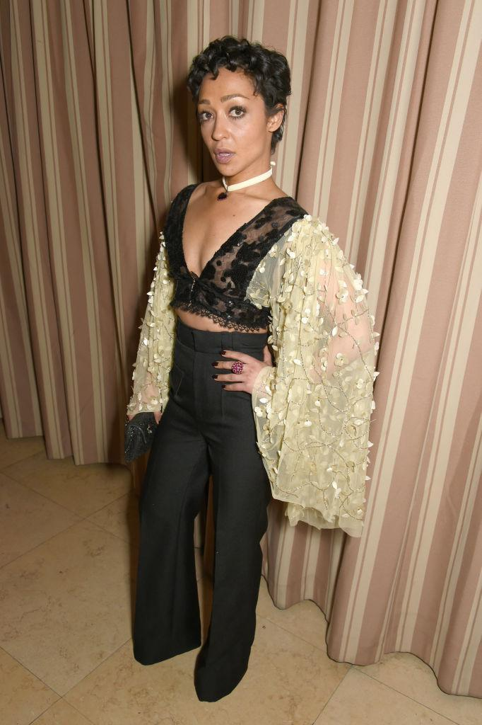 <p>Ruth Negga in Rodarte at the Green Carpet Challenge party (Photo: Getty Images) </p>