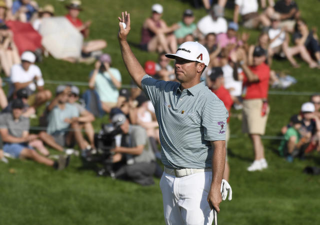 Chez Reavie reacts after winning the Travelers Championship golf tournament, Sunday, June 23, 2019, in Cromwell, Conn. (AP Photo/Jessica Hill)
