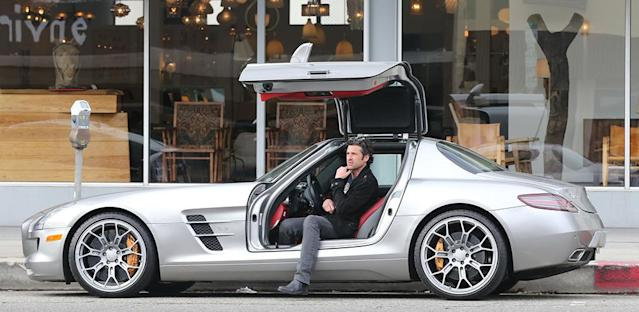 """<strong>Patrick Dempsey</strong><br><strong>Mercedes-Benz SLS AMG</strong><br><strong>Approximate Base Price: $202,000</strong> <br>We're thinking Patrick Dempsey was perfectly happy when paps snapped a shot of the """"Grey's Anatomy"""" star in his <a href=""""http://autos.yahoo.com/mercedes-benz/sls-class/2013/"""" data-ylk=""""slk:Mercedes-Benz SLS AMG"""" class=""""link rapid-noclick-resp"""">Mercedes-Benz SLS AMG</a> recently. After all, you don't buy a $200,000 car with gullwing doors unless you want to be noticed ... and have a bunch of money in the bank thanks to starring in a hit TV series for eight years. He's clearly got a thing for cars; Dempsey also races them in his spare time."""