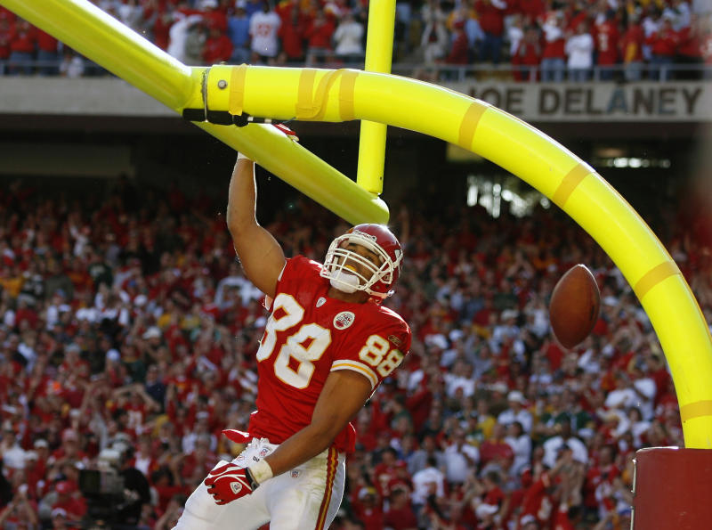 Tony Gonzalez dunking the football over the goal post was a sight many opponents saw over his 17-year career. (AP)